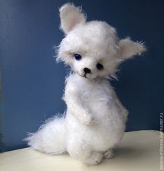 Купить полярный лисёнок Сноу - белый, лиса, авторская ручная работа, лисенок, вязаная игрушка