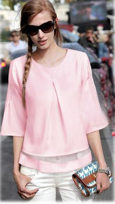 Pink Short Sleeve Ruffle Chiffon Blouse - Fashion Clothing, Latest Street Fashion At Abaday.com