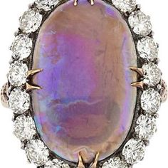 Opal and Diamond Silver Topped 14kt Yellow Gold Ring (Antique) * Katie Callahan & Co.