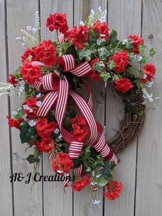 Red Geraniums, Christmas Wreaths, Holiday Decor, Crafts, Home Decor, Manualidades, Decoration Home, Room Decor, Handmade Crafts