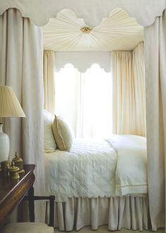 White canopy bed.