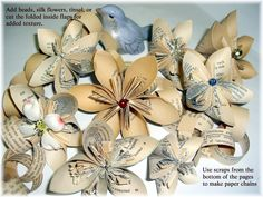 Paper Flowers from upcycled paper back books. full illustrated instructions are included Book Crafts, Arts And Crafts, Paper Crafts, Diy Flowers, Paper Flowers, Recycled Books, How To Make Paper, Paperback Books, Paper Art