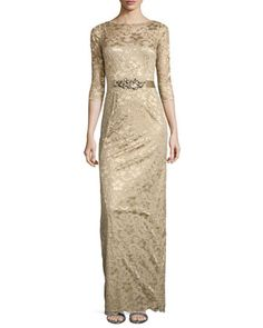 3/4-Sleeve Lace Overlay Gown, Gold  by Rickie Freeman for Teri Jon at Neiman Marcus.