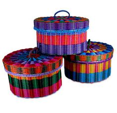 Plastic Woven Basket with Lid   All-Pop.com - Kitsch, curios and imports from around the world, Mexicana, Mexican baskets