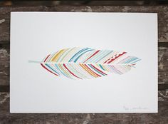 multi coloured stripes, love the graphic pattern of the feather