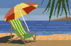 Beach chair cross stitch kit or pattern | Yiotas XStitch