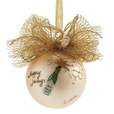 Champagne Ornament by Natalie Sarabella - Frontgate White Christmas Ornaments, Christmas Bulbs, Christmas Decorations, Christmas And New Year, Christmas Time, Merry Christmas, Mesh Bows, All Craft, Holiday Traditions