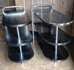Pair of Art Deco Howell Chrome machine age three tier tables Wolfgang Hoffmann #ArtDeco