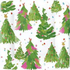 Caspari Brushstroke Trees ivory Forest Theme Printed Square Paper Dessert Plates Wholesale 14120SP  sc 1 st  Pinterest & Caspari Winter Song Birds Music Christmas Holiday Designer Printed ...