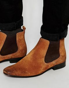 ASOS+Chelsea+Boots+in+Tan+Suede+With+Back+Pull