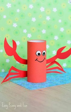 Toilet Paper Roll Crafts - Get creative! These toilet paper roll crafts are a great way to reuse these often forgotten paper products. You can use toilet paper Crab Crafts, Summer Crafts For Kids, Fun Crafts For Kids, Toddler Crafts, Diy For Kids, Easy Crafts, Arts And Crafts, Craft Kids, Simple Paper Crafts