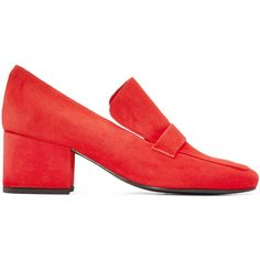 Dorateymur Red Suede Turbojet Heels ($445) ❤ liked on Polyvore featuring shoes, pumps, red, red loafers, block heel shoes, red suede loafers, block heel court shoes and red block heel shoes