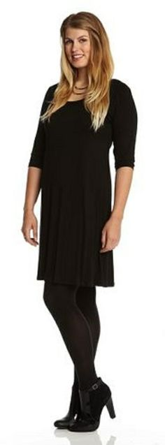 PLUS SIZE 3/4 SLEEVE A LINE DRESS A part of the Karen Kane Little Black Dress Collection, this basic black a line is a must have staple in every woman's wardrobe. The easy pull on silhouette flows away from the body, hiding flaws, while the basic crew neckline covers the front in streamlined sophistication. Dress it up or down with pumps and fun jewelry or basic tights and booties for something more transitional. #Plus_Size #LBD #Little_Black_Dress #Karen_Kane