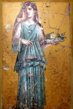 Ancient Roman fresco of woman carrying a tray from the Villa San Marco in Stabiae, 1st century A.D.