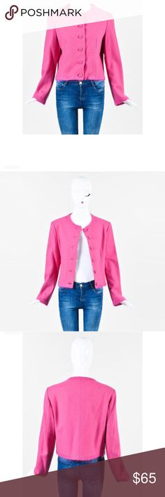 """MOSCHINO Cheap & Chic Wool Blend Top Size 10 MOSCHINO Cheap and Chic Wool Blend button up top.  80% Wool/ 20% Nylon. USA Size 10. Detachable shoulder pads.  Bust: 19"""" Length (Pit To Hem): 11"""" Sleeve Length (Shoulder To Hem): 22"""" Moschino Tops Button Down Shirts"""