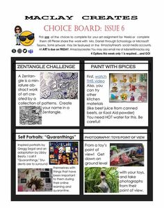Distance Learning - Choice Board Templates from Maclay School (Elementary and Middle School Visual Arts) Soul Sisters, Sisters Art, High School Art, Middle School Art, Art Doodle, Classe D'art, Art Assignments, Choice Boards, Arts Integration