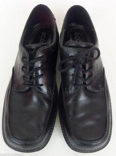 d3fbcbe4a73 ECCO Black Shoes Men Lace Up 7.5 US 40 EU Leather Light Oxford Shoes Men