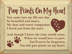 Paw Prints On My Heart Wood Sign - Country Marketplace