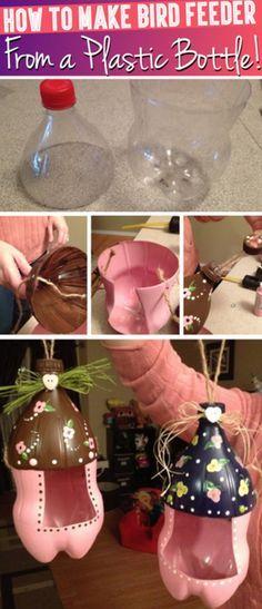Plastic Bottle Bird Feeder | 16 DIY Bird Feeder Ideas, see more at: http://diyready.com/diy-bird-feeder-ideas/