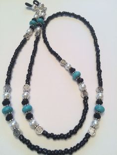 Turquoise, Black Swarovski and Glass Pearl Beaded Eyeglass Chain Holder #Handmade
