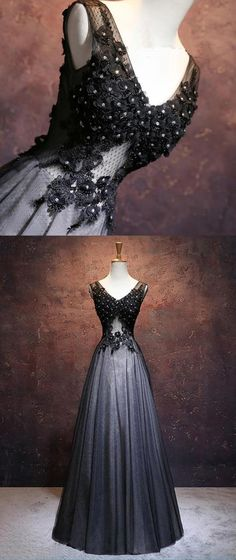 Black tulle long A-line V neck long halter senior prom dress with lace appliques #prom #dress #promdress #promdresses