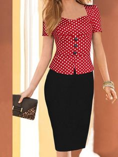 Fashion dress for women Skirt Outfits, Chic Outfits, Fashion Outfits, Polka Dot Shorts, Polka Dots, Office Wear Women Work Outfits, Yeezy Fashion, Simple Dresses, Blouse Designs