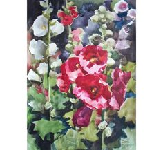 Original Watercolor Flower Painting. Red Malva.