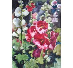 Original Watercolor Flower Painting. Red Malva.