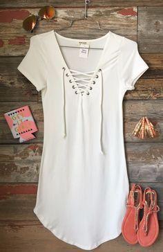 Fun in the Sun Tie Dress: White