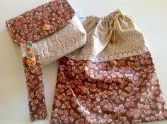 Kit viagem contendo uma necessaire, um saquinho de lingerie ou bijuteria e uma capinha de lixa de unha. <br>Confeccionados com tecido nacional. <br>Excelente pra organizar sua mala de viagem ou bolsa. <br>Peça única.
