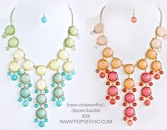 Dipped Bauble Jewel Necklace/Earring Set Fuchsia or Turquoise $28 www.popofchic.com