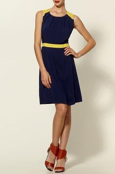Tinley Road Color Block Shoulder Dress  It's so maize and blue!!!