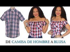 De camisa de hombre a blusa de hombros descubiertos | Manualidades