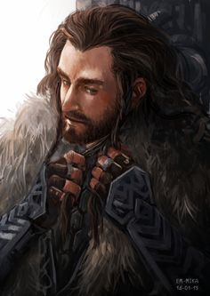 Uncle braiding his hair in the mornings before setting out. -Fili <- Braiding that majestic mane... :)