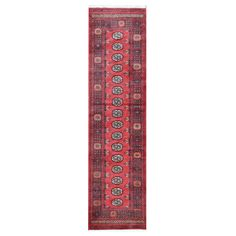 Herat Oriental Tribal Bokhara Hand-Knotted Red Area Rug