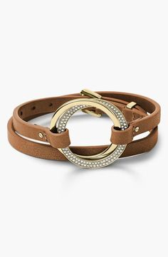 Michael Kors Statement Brilliance Leather Wrap Bracelet