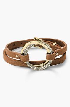Michael Kors Statement Brilliance Leather Wrap Bracelet #Michael #Kors