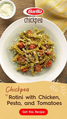 Slow Cooker Recipes, Crockpot Recipes, Rotini Pasta Recipes, Gluten Free Pasta, Gluten Free Recipes, Oven Roasted Tomatoes, 3 Ingredient Recipes, Make Ahead Meals, Pesto Chicken