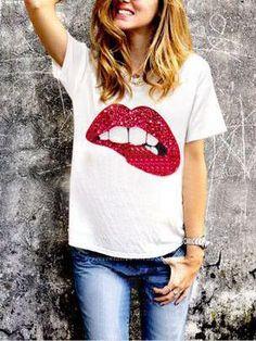 #AdoreWe #ROMWE ROMWE Sequined Lip Print T-shirt - AdoreWe.com