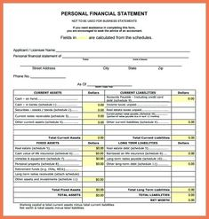 Financial Statement Template Personal Financial Statement Template  Financial Statement Template Personal Financial Statement Statement Of  Financial
