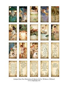 Antique Peter Pan quotes domino digital collage sheet by magicpug