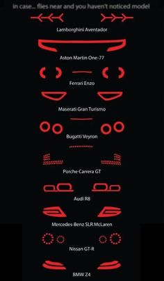 The tail lights of some super-cars like: Lamborghini Aventador, Aston Martin Ferrari Enzo, Maserati Gran Turismo, Bugatti Veyron, Porche Carrera GT Car Memes, Lamborghini Aventador, Audi R8, Audi 2017, Lamborghini Concept, Car Sketch, Car Wheels, Steering Wheels, Mustang Wheels
