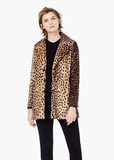 Leopard faux fur coat - Coats for Women   MANGO