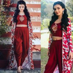 Items similar to Traditional Summer Wear Indowestern Set Heavy Tapeta Silk + Digital Printed Koti with Rayon Cotton Blouse and Heavy Tapeta Silk Maroon Dhoti on Etsy Dress Indian Style, Indian Dresses, Indian Outfits, Indian Clothes, Indian Wear, Dhoti Salwar Suits, Salwar Kameez, Dhoti Saree, Anarkali Dress