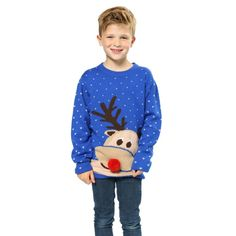 Kersttrui blauw met rendier voor kinderen. Blauwe kersttrui met print van…