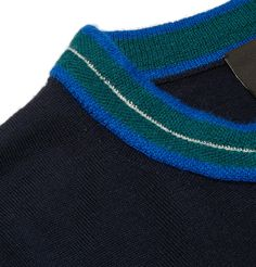 <a href='http://www.mrporter.com/mens/Designers/PS_By_Paul_Smith'>PS by Paul Smith</a>'s sweater is spun from a wonderfully soft and naturally insulating merino wool-blend. The rich navy shade is contrasted with a vivid green, cobalt-blue and white collar - a detail that references the British brand's signature multicoloured stripes. The semi-fitted cut looks smart and makes it easy to slip on over tees and shirting. Wear it with ...