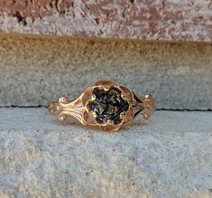 Antique Salt Pepper Gray Champagne Rose Cut Diamond Engagement Ring | Victorian Engagement Ring | Rose Gold Ring