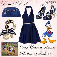 Disney Style: Donald Duck, created by trulygirlygirl Nerd Fashion, Fashion Corner, Fashion Outfits, Fandom Fashion, Disney Bound Outfits Casual, Disney Themed Outfits, Disney Prom, Disney Dress Up, Disney Inspired Fashion