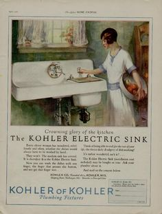 1927 Kohler Plumbing Ad Crowning Glory in The Kitchen. The deep bay is an automatic dishwasher.