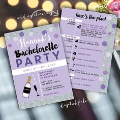 Silver Bachelorette Weekend invitation with itinerary,  Purple & Silver Glitter! 5 x7 printable bachelorette invite - Colors may be changed. INFO TO INCLUDE 1. Party details, as you would like them to appear on the printable invite 3. Your accent color, if you would like a different color than pictured.  2. Print method! Your file will be set up to match. If using an online printer, please let me know which one for formatting.   PROCESS: / Mon-Sat: 1-2 days* for invite first proofs / *custom…